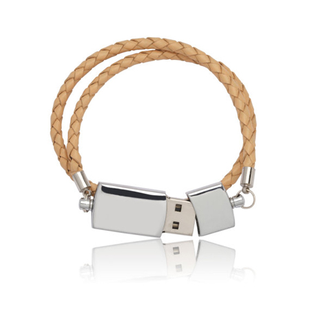 Stylish Memory Made With Metal and Leather 16GB capacity USB Drive Bracelet