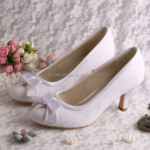 White Lace Bridal Low Heel Wedding Shoes 5CM