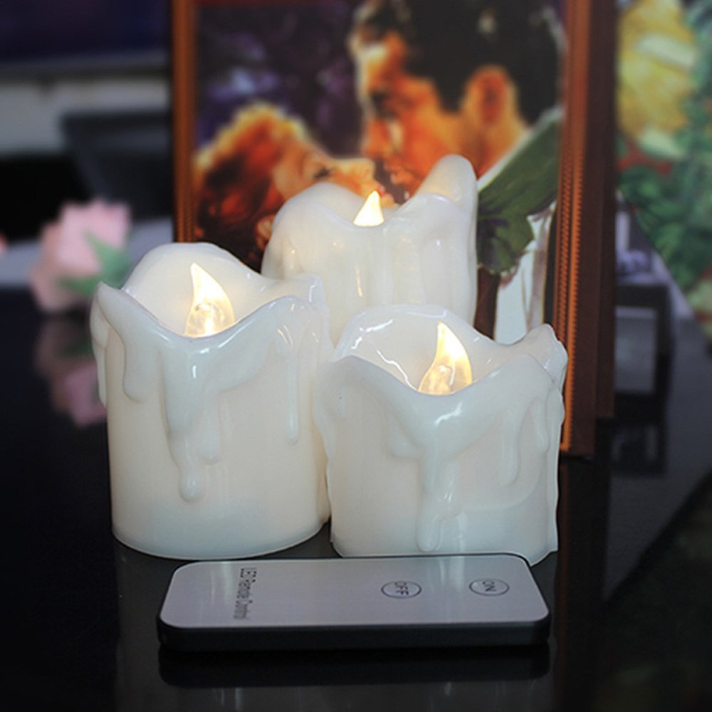 youngerbaby 3pcs remote control flameless led candles led flickering pillar candles led battery operated candles for - Christmas Decorations Battery Operated Candles