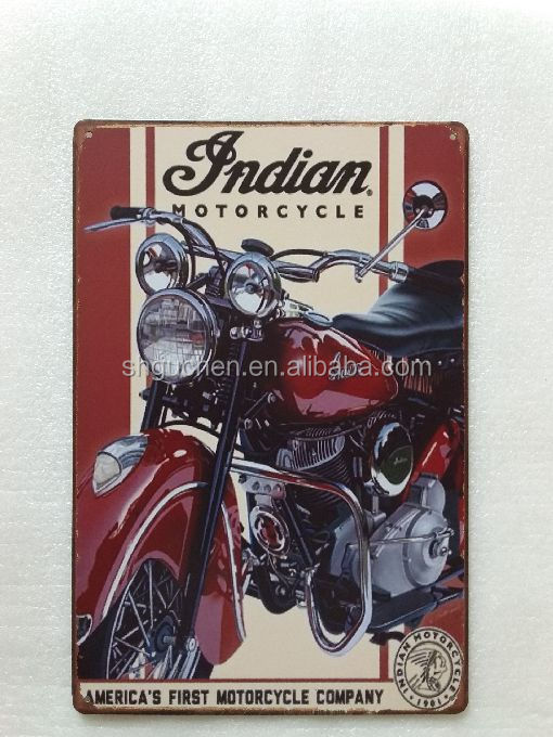Indian Motorcycle Vintage Tin Sign Metal Art Poster Home Decor House Cafe Bar signs Retro Wall Decor