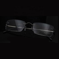 NO MOQ popular eyewear titanium metal optical glasses frame titan rimless optical frames