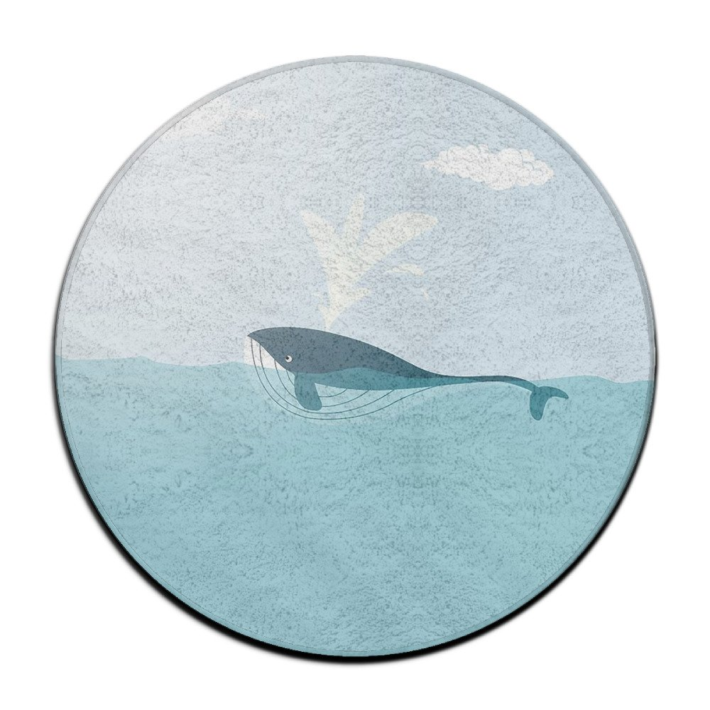"YIOOO Soft 60""x 60"" Round Area Rug Whale Cartoon Anti-Skid Floor Mat Area Rugs Living Room Bedroom Rug Carpet Mat For Home Decorate Indoor Outdoor Office Chair Mat Pile"
