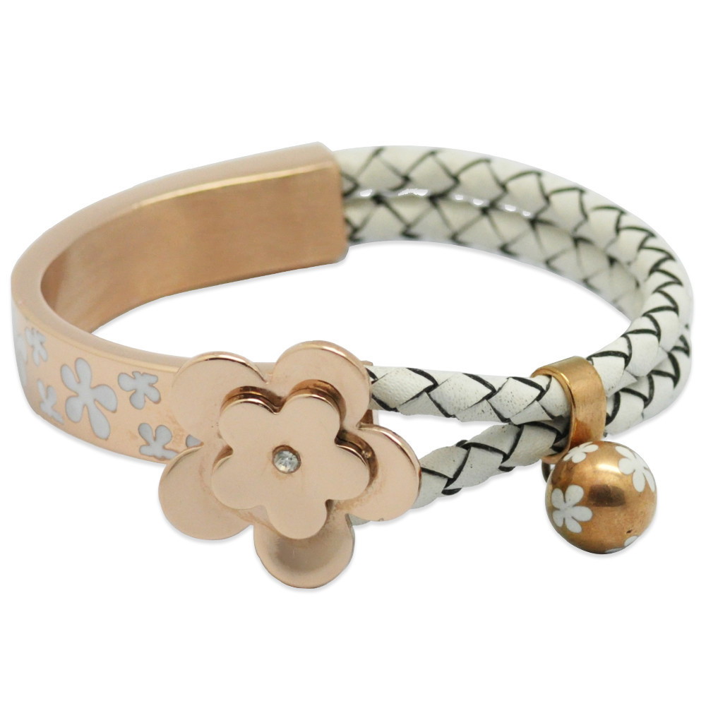 Latest Designs Braid Leather Flower Bangle For Women
