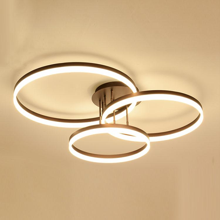 White Modern Led Ceiling Light Fixture Living Room Circles Lamp Powder Spray Painting
