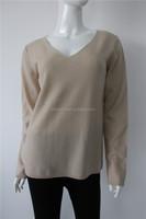 162-96 women flat knit v neck reverse cashmere sweater