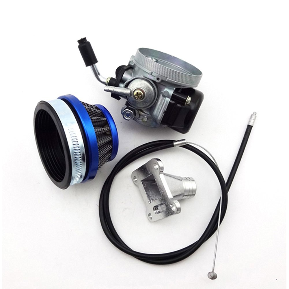 TC-Motor Blue Racing Carburetor + Air Filter Cleaner + Throttle Cable + Intake Pipe For 47cc 49cc Engine Mini ATV Pocket Bike Quad 4 Wheeler