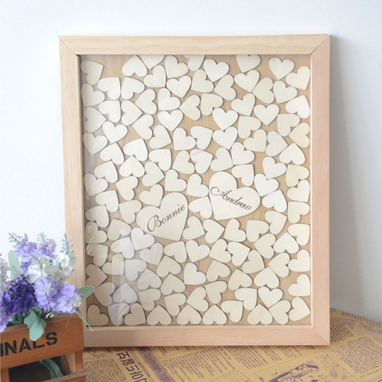 WEDDING DAY DROP TOP WOODEN FRAME ALTERNATIVE GUEST BOOK INC HEARTS