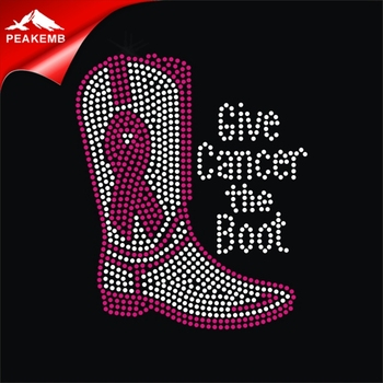 Give Cancer The Boot Breast Cancer Awareness Pink Ribbon Boot Rhinestone Bling Heat Iron On Transfer