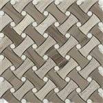 """Soho Fancy Weave Wood Beige Athens Gray With Thassos Dot - 11 1/2"""" x 11 1/4"""" - 5 Rows/Sheet - 1"""" x 2"""" Chip Size"""