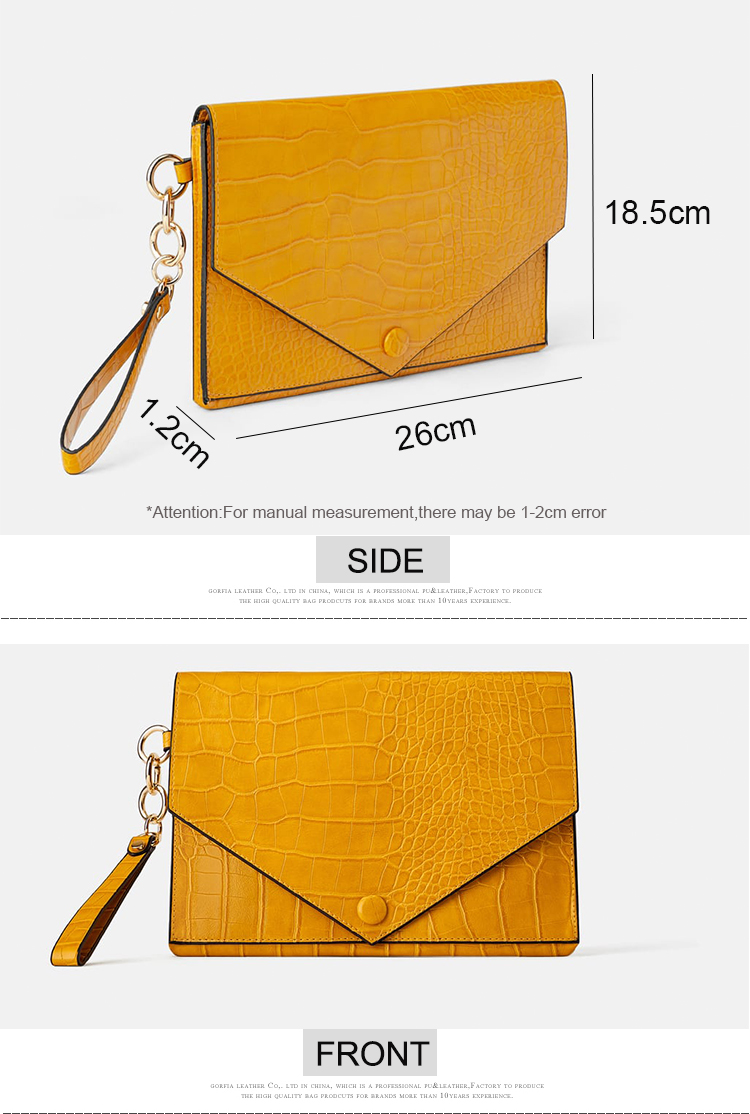custom latest pu faux croc crocodile patent leather envelope ladies clutches purse bag for women