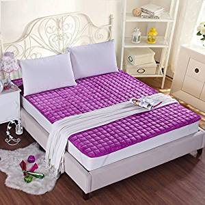 GAO Bed-Blankets Thick Flannel Blankets Anti-Slip Bed Cushion Thin Pads Washable Bedding Solid Color Double Bunk Beds, Blankets and Mattresses Of Anti-Skid ,120200Cm, - Purple