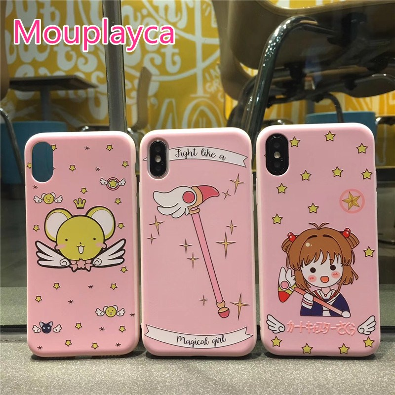 Mouplayca Cute cartton Card Captor Sakura Emboss pink soft TPU back cover cases for iphoen X (10) /6/6s/7/8 plus phone cases