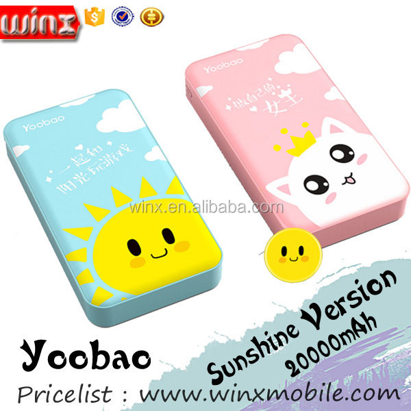 hot selling products Original Yoobao powerbank 20000mAh Sunshine version Dual USB Blue Pink wholesale only