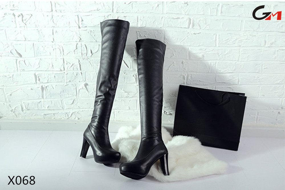 ladies women top quality high heel cow genuine leather over knee rubber boots