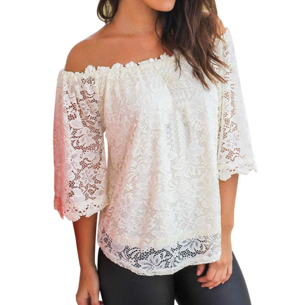 4cb4dad3e8f57b Get Quotations · Howstar Women's Casual T-Shirt Sexy Off Shoulder Shirts  Elegant Ladies Lace Blouse Short Sleeve