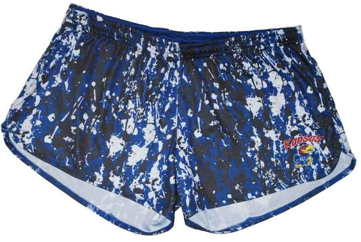 Kansas Jayhawks Colosseum Women Gray-Blue-White Camo Athletic Shorts (M)