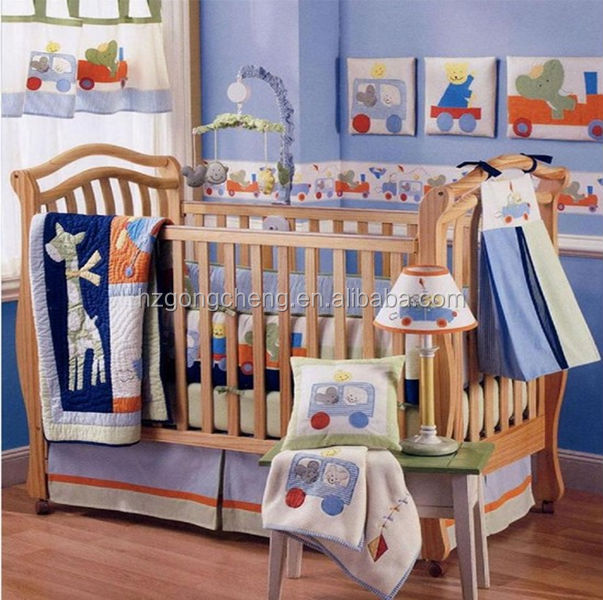 Baby Cot Crib Quilt Set Patchwork Applique Embroidery Printing ...