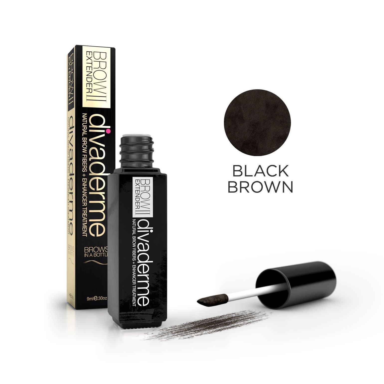 Divaderme Brow Extender II - Black Glass Bottle Edition - 100% Natural Semi Permanent - Eyebrow Fibers + Enhancer Treatment - Made in USA (Black Brown)