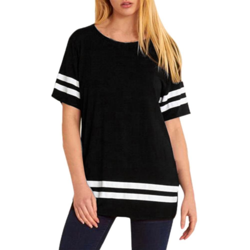 Meyerlbama Women Tee Ladies O Neck Shirt Stripe Baggy Oversized Top Cap Sleeve Pullover T Shirts