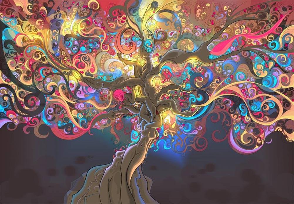 Psychédélique Trippy tapisserie décoration de la maison papier affiche papier peint impression ...