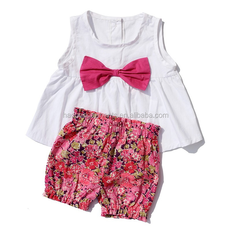 Wholesale Children Clothing Usa Smocked Floral Tops Grid Shorts