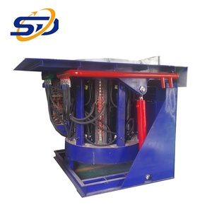 1.5T 2 furnace body 1 power cabinet Hydraulic Tilting Melting Furnace for sale