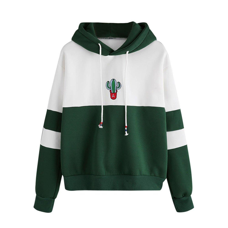 e3da5376dcf53b Get Quotations · OldSch001 Womens Hooded Sweatshirt Cute Cactus Print  Hoodie Pullover Tops