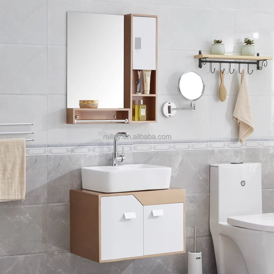 Wall Mount 2 Doors Pvc Bathroom With Ceramic Basin Buy Pvc Cabinet Wall Hung Bathroom Vanity Bathroom Cabinet Modern Product On Alibaba Com