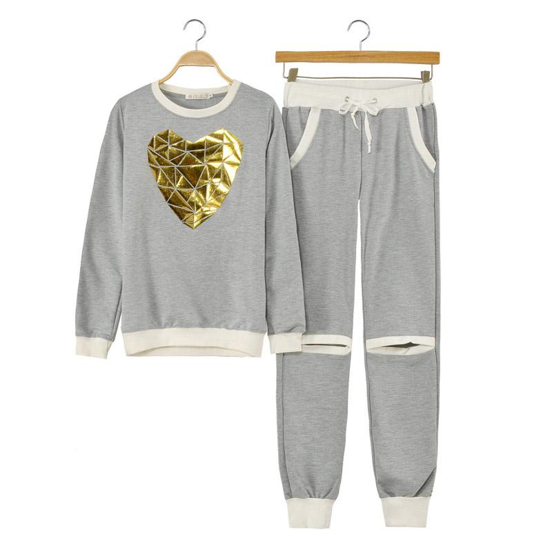 78eb3261b5 Buy Heart Sport Suits Cotton Black Gray Jogging Femme Survetement Marque 2  Piece Sets Pants Sweatshirts Heart Sport Suits For Women in Cheap Price on  ...