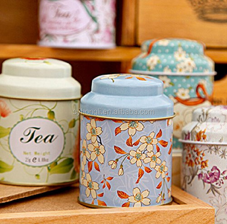 Set of 8 Home Kitchen Storage Containers Colorful Tins Round Tea Tins