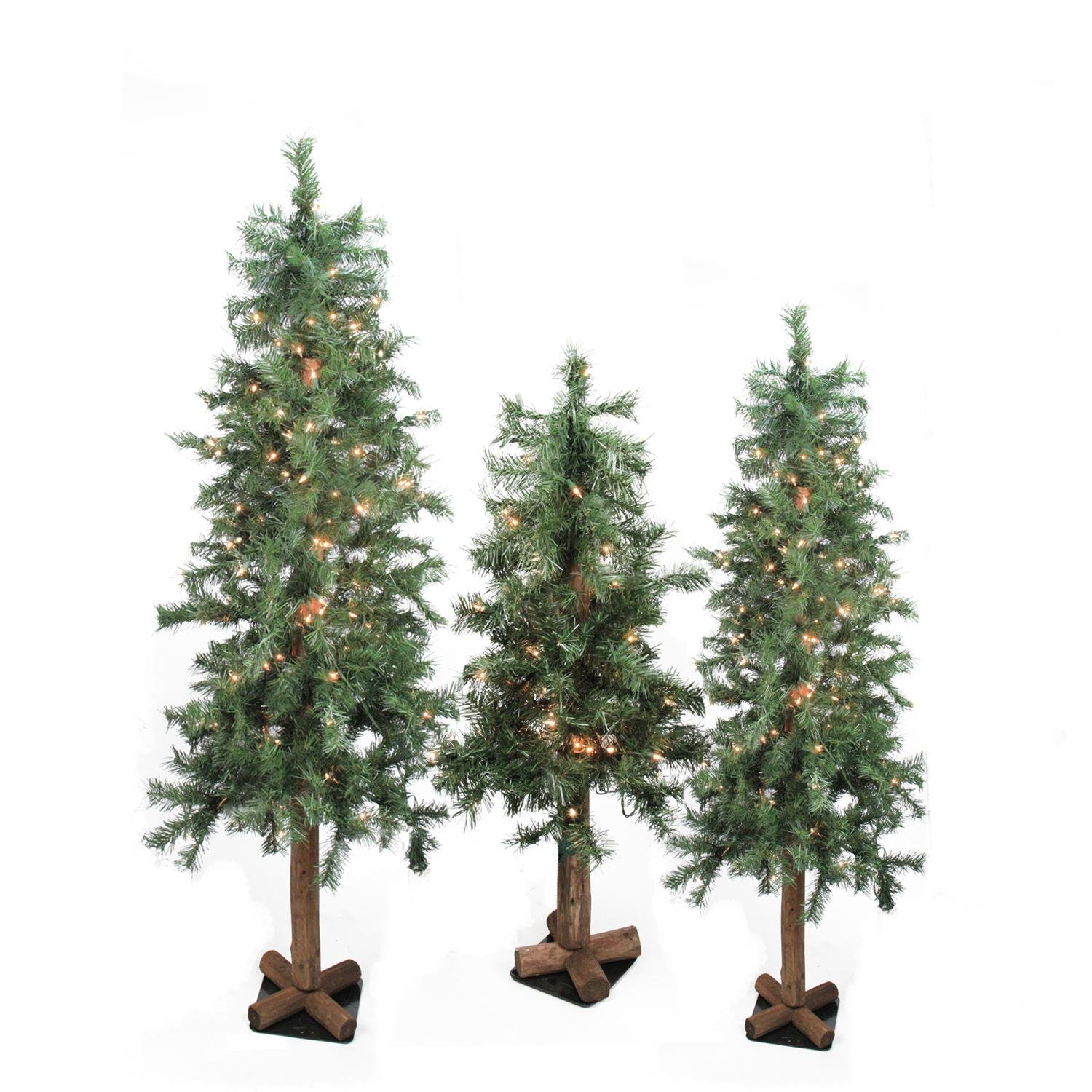 get quotations northlight seasonal pre lit woodland alpine artificial christmas trees with clear set of 3 - Lowes Christmas Trees Artificial