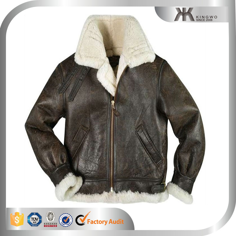 Sheepskin Leather Bomber Jacket With Sherpa & Fur Lining - Buy ...