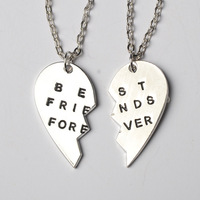 Delicate COUPLE silver best friend forever BFF half part heart necklace