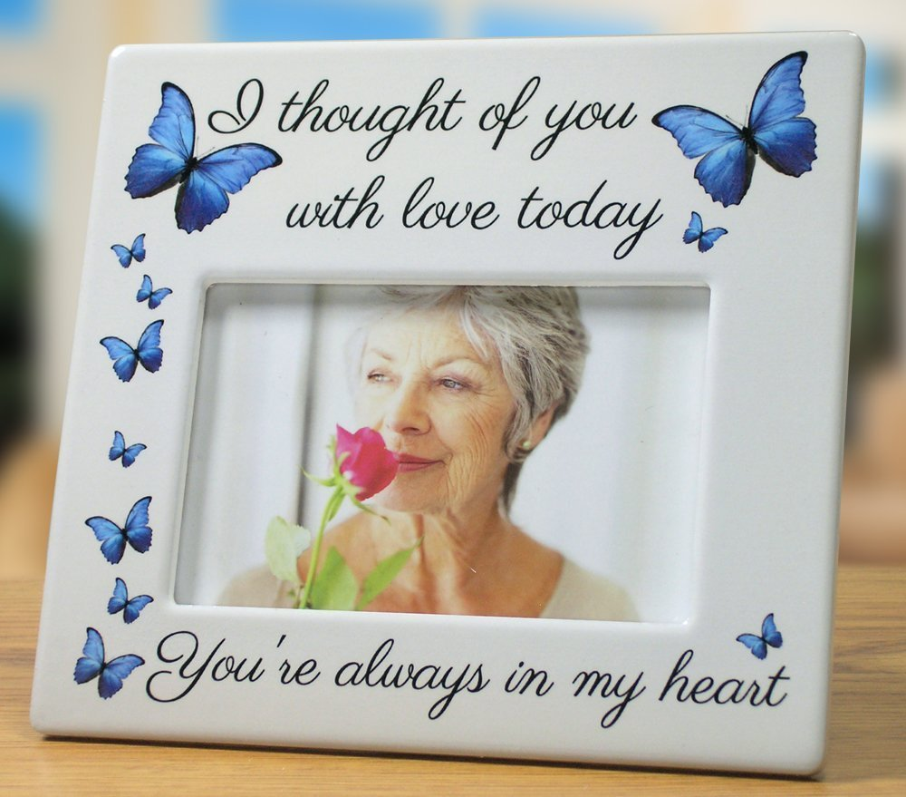 BANBERRY DESIGNS Memorial Picture Frame - I Thought of You with Love Today - Beautiful Tribute to The Loss of a Loved One - Ceramic Keepsake Plaque - Bereavement Gift - Sympathy - in Loving Memory
