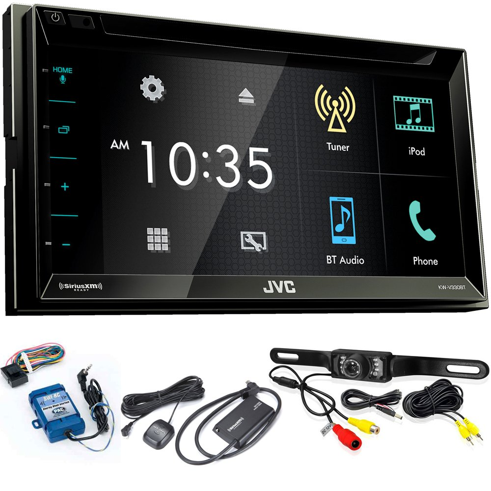 "JVC KW-V330BT 6.8"" BT/DVD/CD/AM/FM/Digital Media Car Stereo with SiriusXM Tuner, Back Up Camera, Steering Wheel Controls"