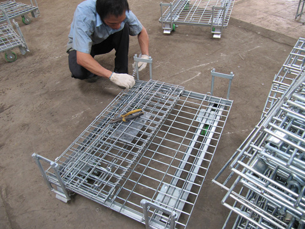 Pallet Rack with Wheels Metal Steel Galvanized Collapsible Wire Mesh Container
