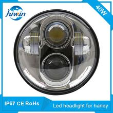 "5.75"" 40W harley led headlight hi-lo beam 6500k white color silver bezel for harley aftermarket motorcycle headlight assembly"