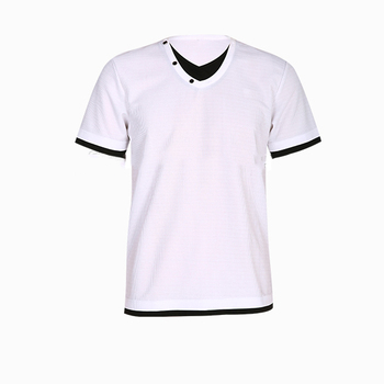 men's 100% polyester white t-shirt plain v neck printed t-shirt