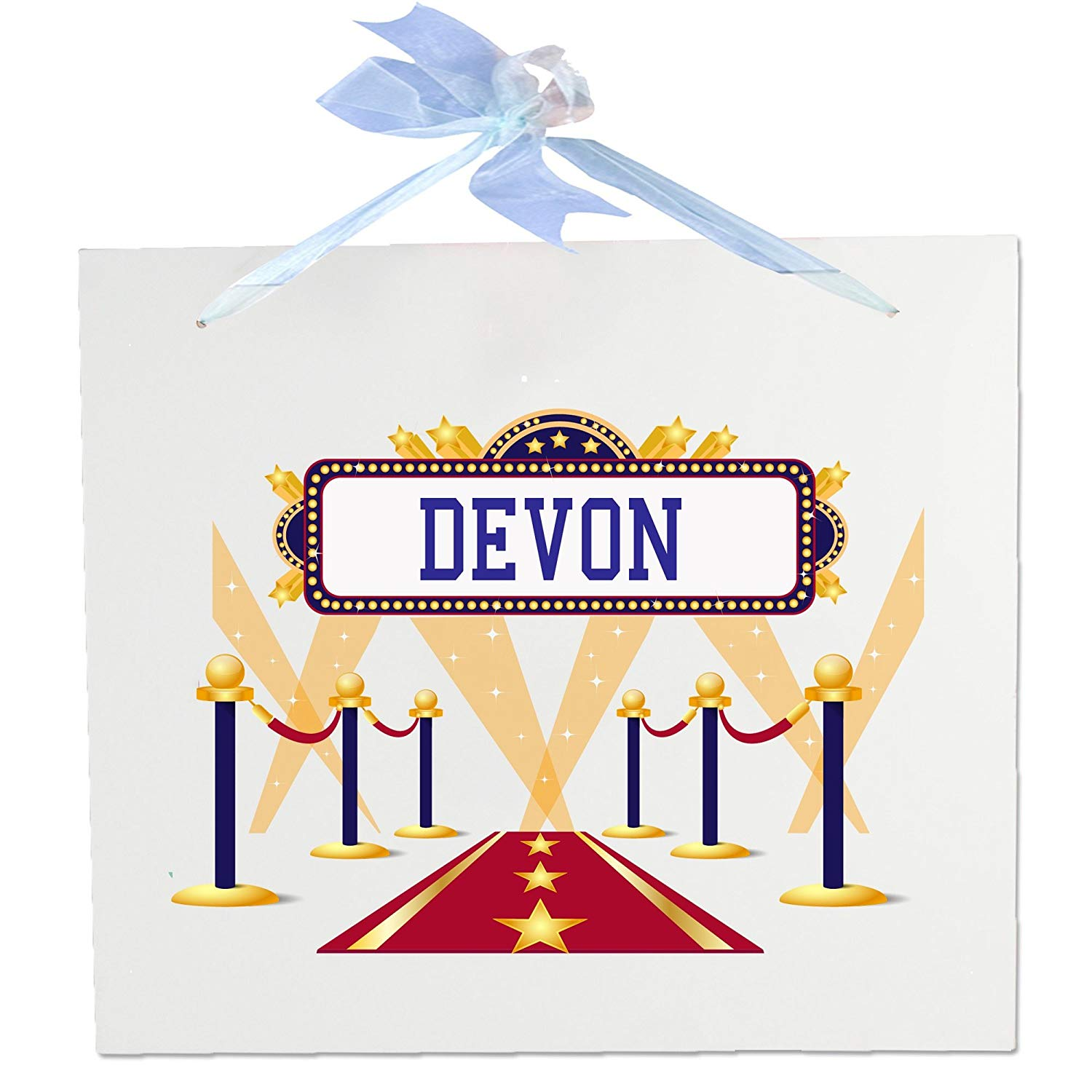 Personalized A Star Is Born blue Wooden Wall Hanger With Blue Ribbon