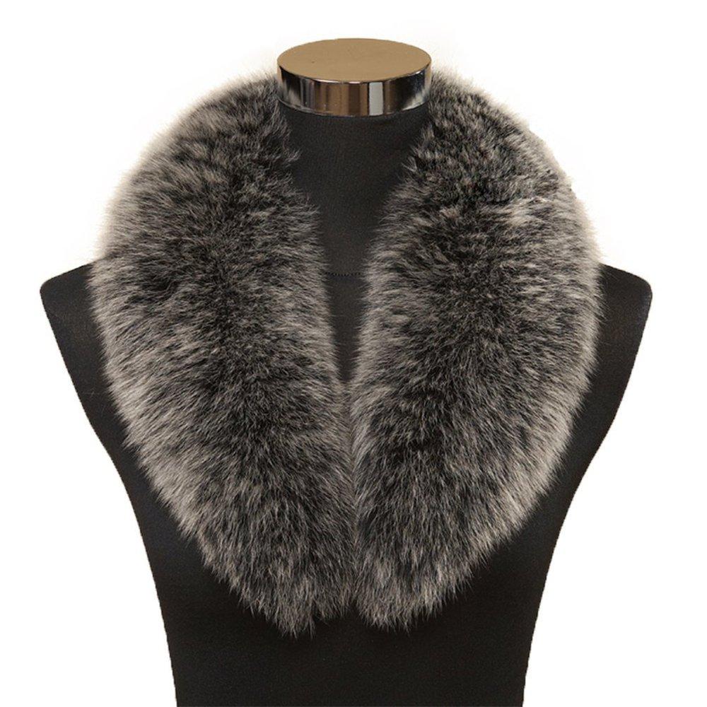 MINGCHUAN Large Long Detachable Natural Fox Fur Collar Scarf Wrap Shawl Neck Warmer Genuine Fox Fur Collar