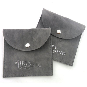 Envelop Snap Button Suede Flap Jewelry Pouch With Custom Logo