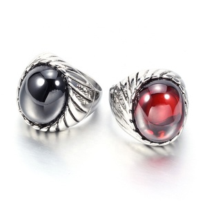 Wholesale Antique Silver Stainless Steel Men Fashion Jewelry Ruby Ring