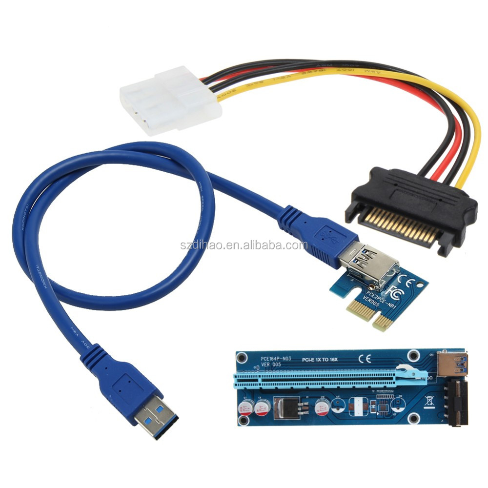 DIHAO PCI-E 1x to 1X/4x/8x/16x To USB 3.0 Riser adapter card ,Wellcore have in stock!!!