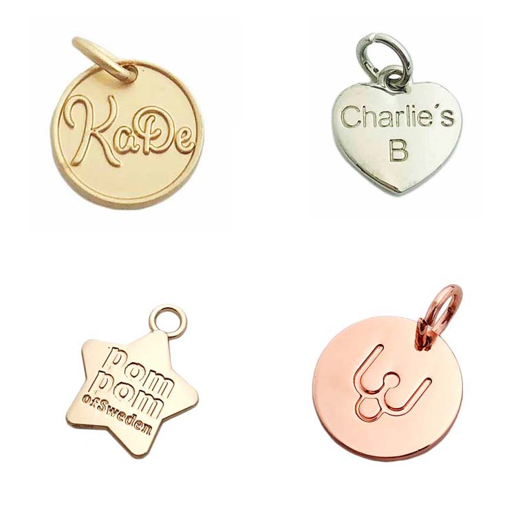2019 Zinc alloy custom round shape gold logo engraving metal letters charms jewelry tags for pendant / bracelet
