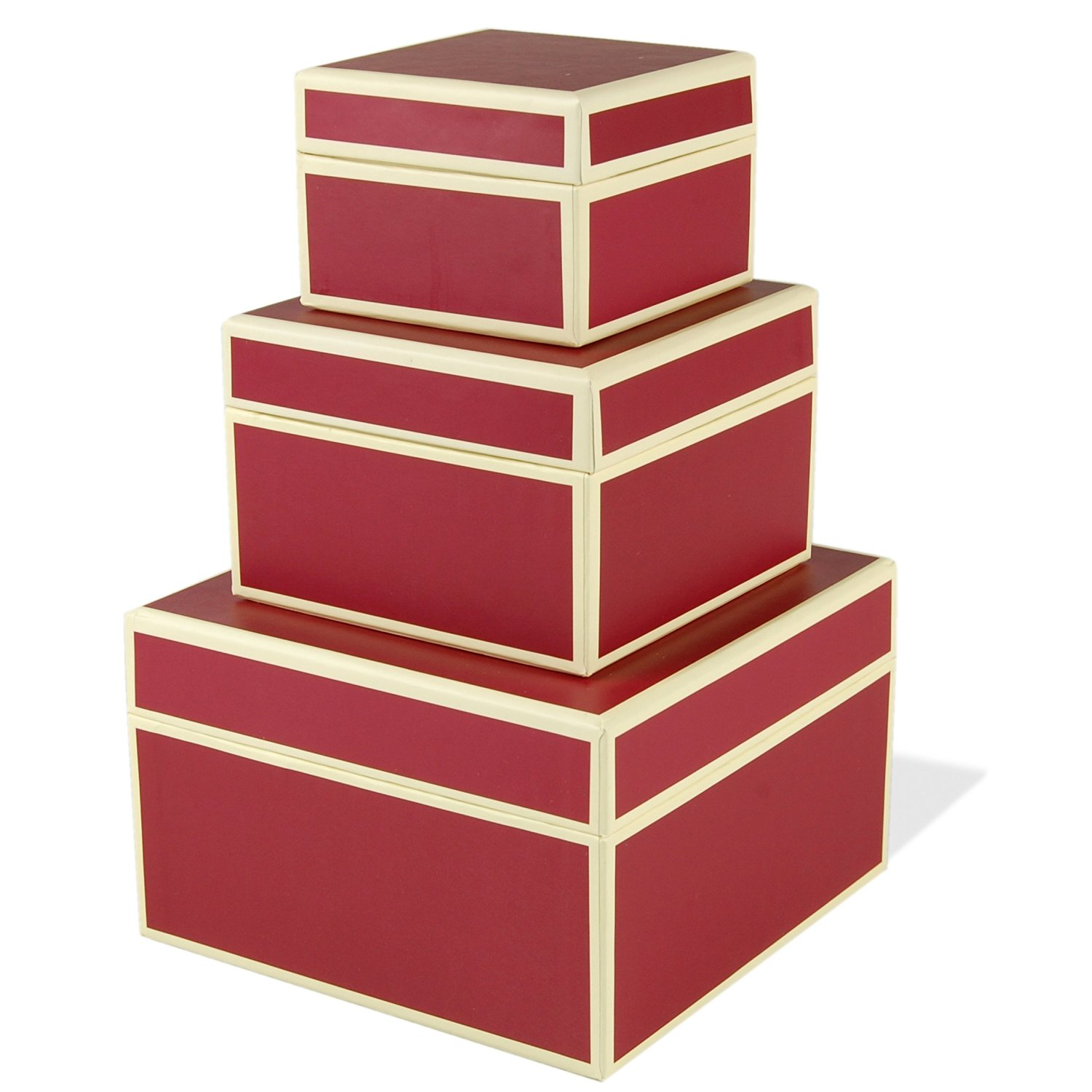 Set of 3 rectangular boxes bordeaux, large +++ STORAGE- or GIFT BOXES +++ Quality made by Semikolon