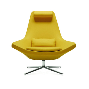 Good price high back living room chair four star leg yellow fabric leisure chair for living room and office