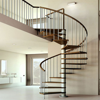 Indoor Double Helix Carbon Steel Newel Post Used Spiral Staircase