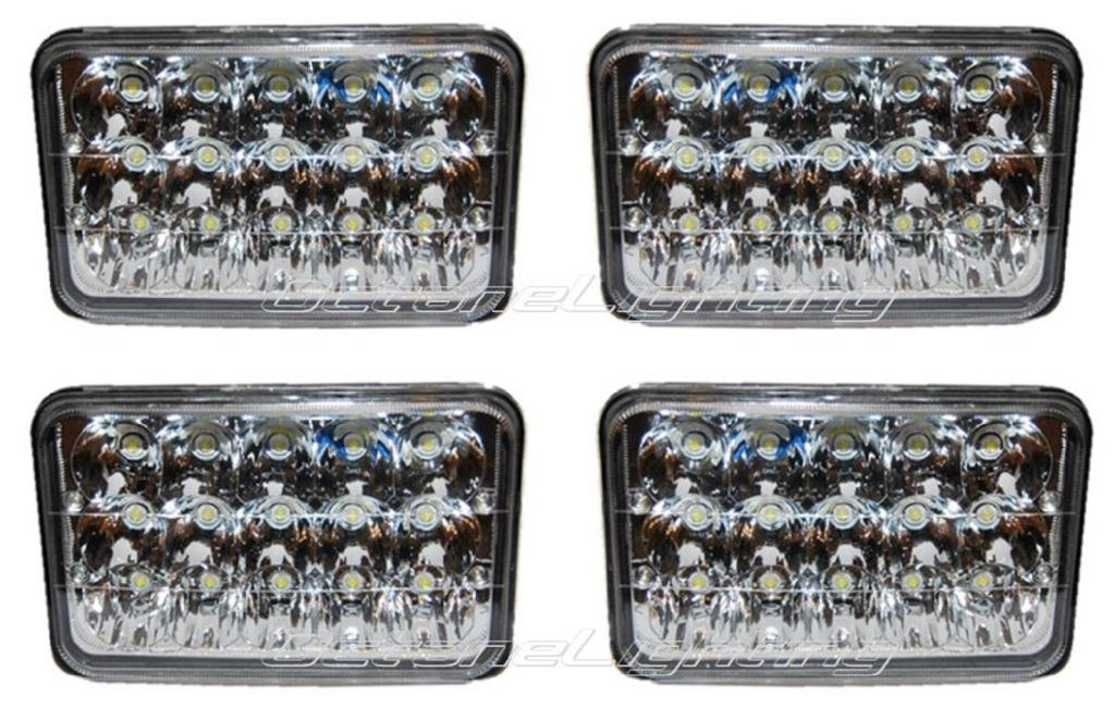 "OCTANE LIGHTING 4X6"" Led Hid Cree Light Bulbs Crystal Clear Sealed Beam Headlamp Headlight Set"