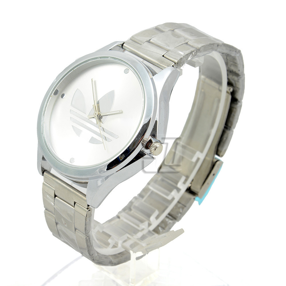 Women/Men Luxury Brand Wristwatches Clover Quartz Watch 3 Leaf Grass Business Watches for Men Silver Stainless Steel Wrist Watch