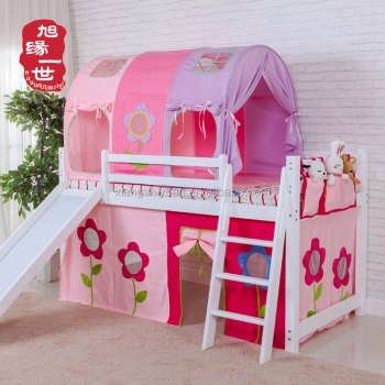 kids furniture pink color princess castle loft bunk bed with slide